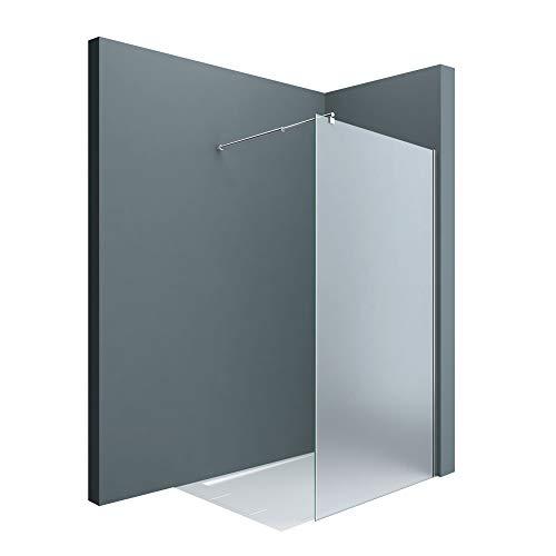 Sogood Luxus Duschwand Duschabtrennung Bremen1VS 120x200 Walk-In Dusche mit Stabilisator aus Echtglas 8mm ESG-Sicherheitsglas Milchglas inkl. Nanobeschichtung
