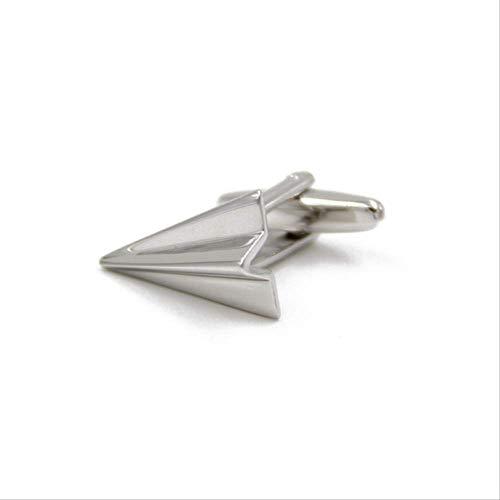 XKSWZD Manschettenknöpfe 1 Paar Mode Manschettenknöpfe Silber Farbe Messing Papier Flugzeuge Design