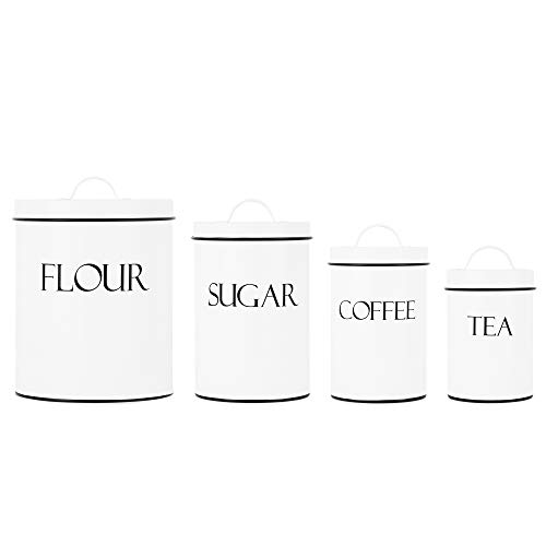 White Metal Nesting Kitchen Canisters | Air Tight Lids | Kitchen Decor Canister Set | Vintage Farmhouse Design | Perfect for Coffee, Tea, Sugar, Flour | Storage Jars | Different Sizes | Set of 4