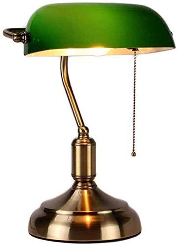 Lámpara de escritorio clásica, Lámpara de escritorio Bankers Lámpara de mesita de noche para dormitorio retro, Interruptor de botón Pantalla giratoria de vidrio Grenn, Base de metal de latón, Lámpara