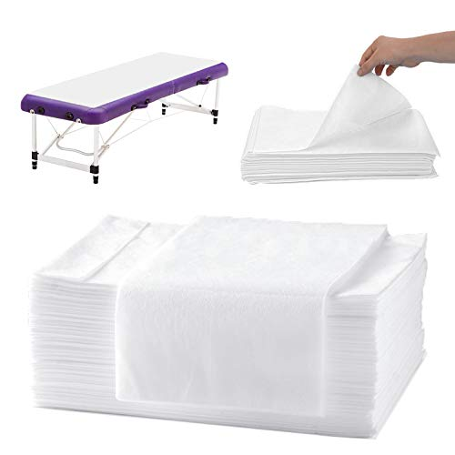 Disposable Bed Sheets Massage Table Sheets, 20 Pcs Waterproof Massage Sheets Cover Non-Woven Fabric for Spa, Beauty Salon, Hotels, 67'' x 31''