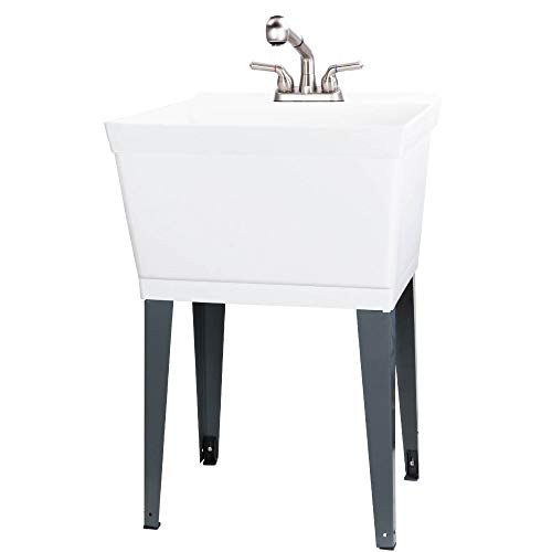 Utility Sink Laundry Tub With Pull Out Faucet, Sprayer Spout, Heavy Duty Slop Sinks For Washing Room, Basement, Garage or Shop, Large Free Standing Wash Station Tubs and (Stainless Steel)