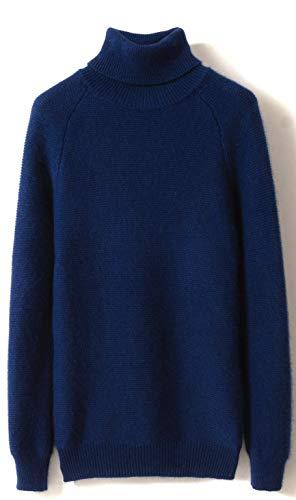 LinyXin Cashmere Damen Kaschmir Rollkragen Pullover Wolle Langarm Freizeit Winter Warm Pulli Sweater (L / 42-44, Marineblau)