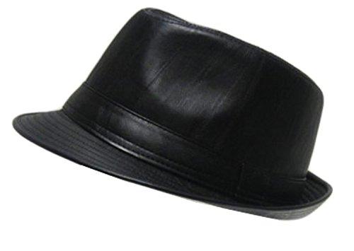 Imitation cuir-Chapeau Fedora feutre Noir