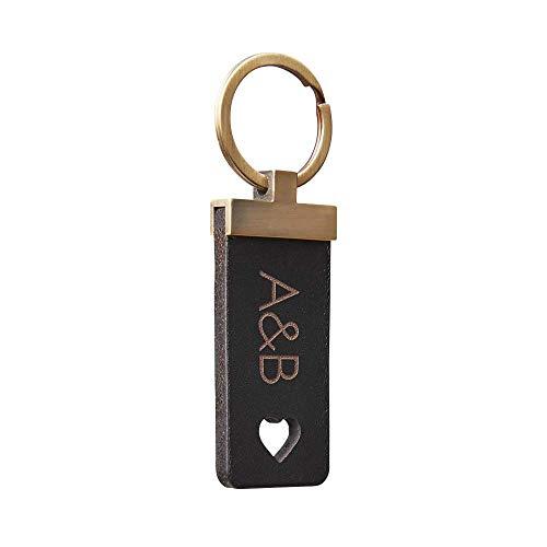 Personalisierter Leder Schlüsselanhänger mit Wunschgravur (Text Koordinaten Intialen) - Rectangle - Hochwertiges Geschenk für Damen und Herren