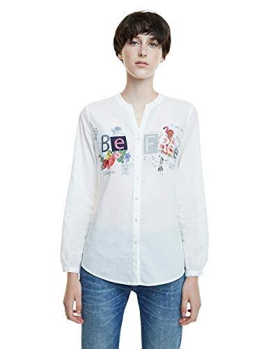 Desigual Damen CAM_BE Free Hemd, Weiß (Blanco 1000), X-Large (Herstellergröße: XL)
