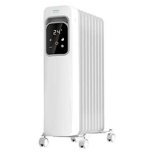 Cecotec Radiador Eléctrico de Aceite Ready Warm 9000 Touch Bajo Consumo, 9 Elementos, 2000 W, 3 Modos de funcionamiento, Pantalla LCD, Control Táctil, Temporizador 9h, Ruedas, 20 m2