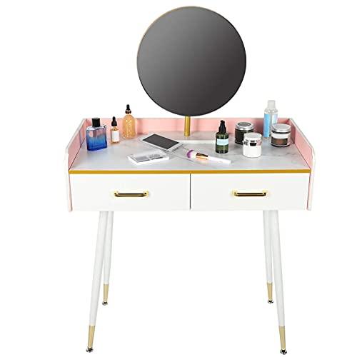 EBTOOLS Mesa de Maquillaje Tocador de Dormitorio Base de mármol,Tocador con Espejo Redondo Muebles de Dormitorio con 2 cajones 83 x 41 x 127 cm