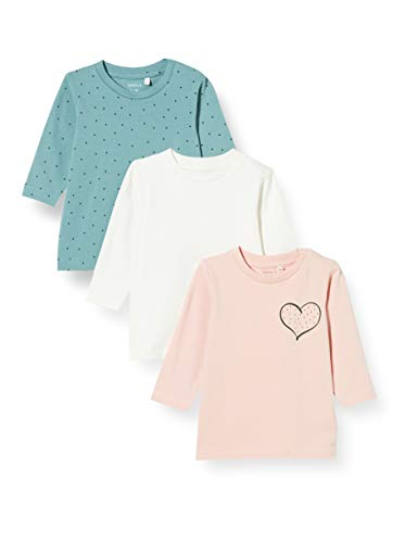 NAME IT NBFLOTUS 3P Top Camiseta de Manga Larga, Peachskin, 68 cm para Bebés