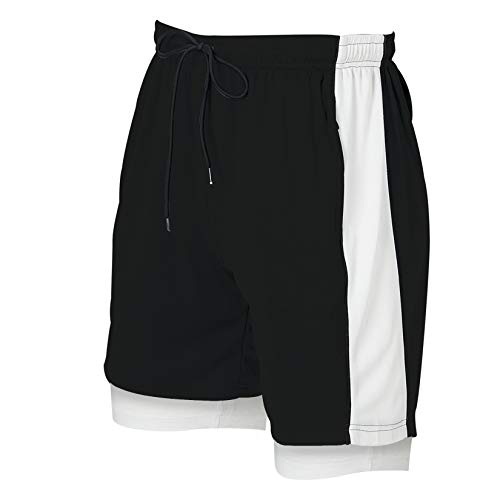 Rave on Friday Running Shorts Men 2 in 1 Sports Shorts Patchwork Athletic Shorts Gym Outdoor Training Joggers with Pockets and Lining