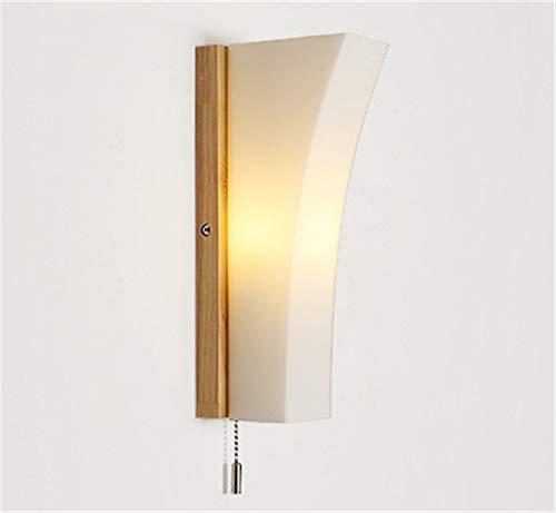 Moderne wandlamp, Scandinavische verlichting, creatieve decoratie van hout, Japanse wandlamp naast het bed.