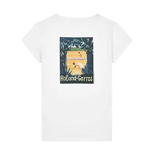 Roland-Garros - T-Shirt Affiche Officielle 2020 - pour Femme - Blanc - Taille M