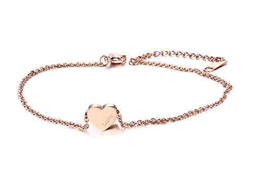VNOX Women's Girls Stainless Steel Name Initial Personalised Anklet Foot Chain Ankle Bracelet for Girlfriend Mom Beach Summer Vacation Rose Gold - Free Engraving Customized,22+5.3cm