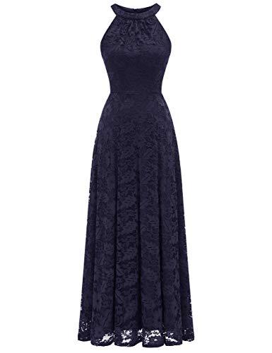 MuaDress 6012 Damen Abendkleider Lang Ballkleider Festliche Kleider für Hochzeit Maxi Spitzenkleid Marineblau L