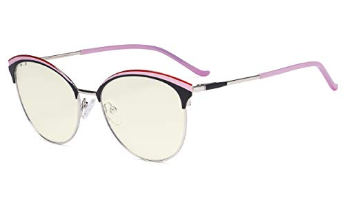 Eyekepper Ladies Cat-Eye Design Blue Light Filter Glasses - Oversize Semi-Rim Digital Eyeglasses Anti Computer Glare Screen UV Rays Women - Pink