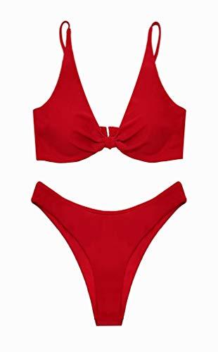 SHEKINI Damen Sexy Bikini Set V Ausschnitt Polsterung High Cut Low Waist Schwarz Hose Grosse Grössen Strand Bikinis