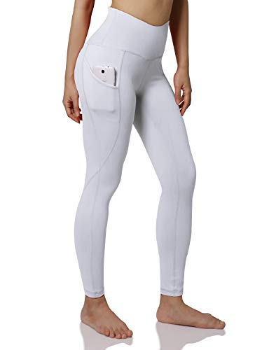 ODODOS Women's High Waist Yoga Pants with Pockets,Tummy Control,Workout Pants Running 4 Way Stretch Yoga Leggings with Pockets,White,Large