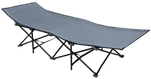 AMANKA Faltbett Faltliege Feldbett Grau Camping-Metall-Klappiege ca. 190x70cm 10-Bein Liege Klappbett Stahlgestell