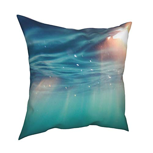 Bright Beams of Sunlight Refracting Through The Surface of The Atlantic Ocean. Cushion Case Pillow Cover with Zippered Throw Pillowcase for Bedroom Sofa Decor