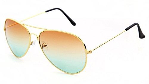 Nuni Lunettes de soleil aviateur unisexe 3026 avec monture en fil doré et verres teintés - Gold, size: Medium