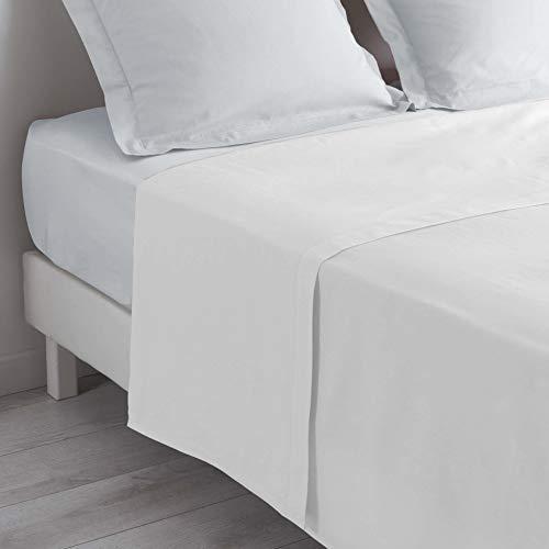 douceur d'intérieur 1640599 Drap Plat Uni Coton + Point Bourdon 57 Fils Blanc 240 x 300 cm