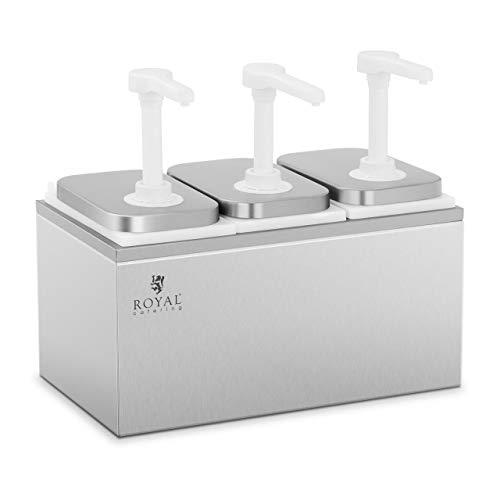 Royal Catering RCDI-6L Saucenspender Pumpstation Pumpspender Senfspender Dosierspender 3 Pumpen 3 x 2 L