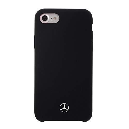 Mercedes-Benz MEHCP7SILBK - Cover in silicone con fodera in microfibra, per iPhone SE 2020/8/7/6S/6, colore: Nero