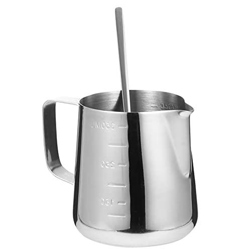 Cabilock 350Ml Espresso Dampfenden Krug Kerze Der Gießen Topf mit Rühren Löffel Milchaufschäumer Tasse Edelstahl Kaffee Cappuccino Latte Kunst Krug