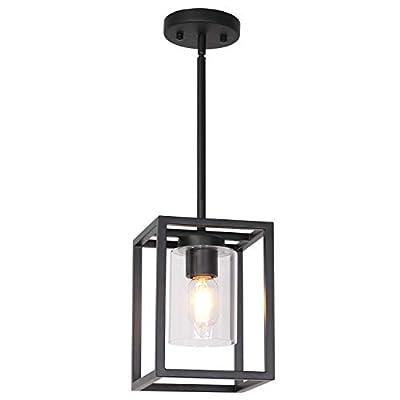 VINLUZ Black Modern Chandeliers 5 Lights Kitchen Island Pendant Lighting