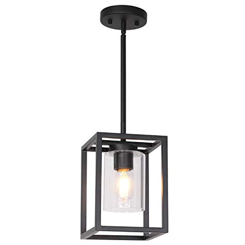 VINLUZ 1 Light Farmhouse Pendant Lighting Black Cage Chandelier Glass Shade Contemporary Modern Kitchen Island Lights Fixtures Ceiling Hanging Dining Room Living Room