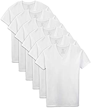 6-Pack Fruit of the Loom Men's Stay Tucked V-Neck T-Shirt