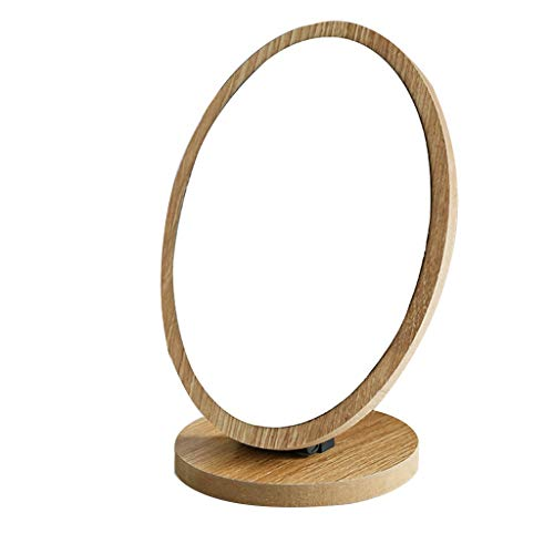 Miroir de Maquillage Miroir de Maquillage sur Pied,Pliant Portable en Bois Miroir Cosmétique avec Support pour Grils Femmes Hommes Chambre Table Top (Couleur : Light Wood 1)