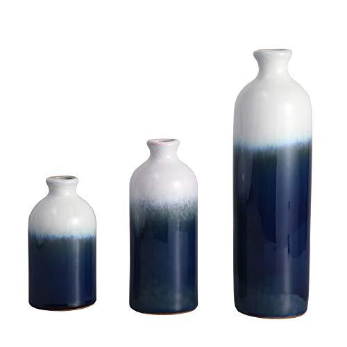 TERESA'S COLLECTIONS Ensemble de 3 Vases en Céramique 15/20/30cm Blanc Vases à Fleurs Bleu Foncé pour Salon, Cuisine, Table, Maison, Bureau, Mariage, Centre de Table ou comme Cadeau