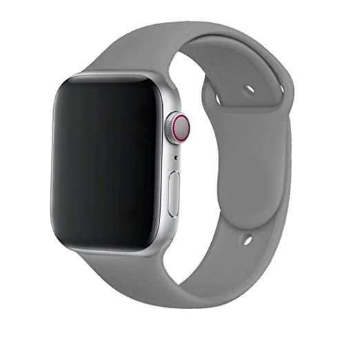 Correa de silicona para Apple Watch Band 44 mm 40 mm 38 mm 42 mm Cinturón de goma Smartwatch Pulsera Pulsera deportiva para IWatch Serie 3 Se 4 5 6-cool Grey, 42 o 44 Mm SM