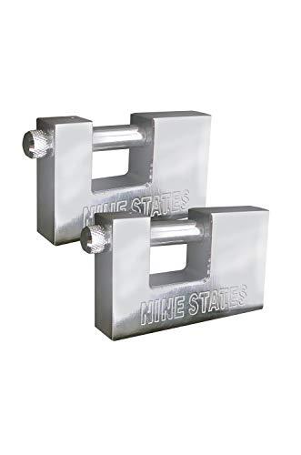 EUROXANTY® Candado Rectangular de Acero Inoxidable | Alta Resistencia | Anti-Corte | Acero Endurecido | Alta Seguridad | Llave Reversible | 90 MM Pack x2