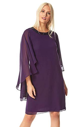 Roman Originals Damen Kleid mit Cape-Ärmeln aus Chiffon - Damen fließende Kleider elegant abends Hochzeiten Partys Brautmutter Pferderennen - Purpur - Größe 42