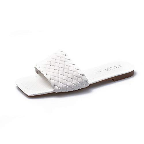 2020 vrouwen platte sandalen met lederen vierkante kop gevlochten brood catwalk slippers, van luxe vrouwen designer slippers (Color : WHITE, Shoe Size : 6)