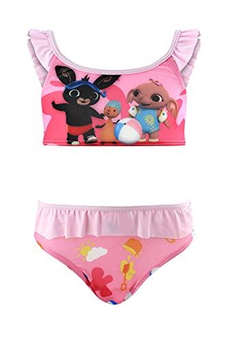 Bing Bunny - Bambina - Costume da Bagno Slip Monokini - Bikini 2 Pezzi - Intero con Volant Mare Piscina - Prodotto Originale [0479 Rosa - 5-6 Anni]