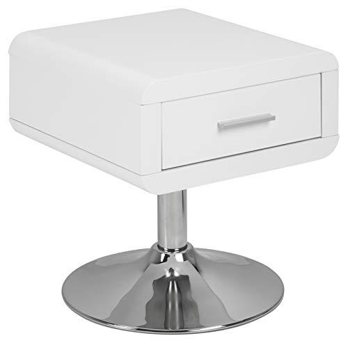 AC Design Furniture Mesita de Noche de Muebles de Diseño Josephine, Blanco Brillante, 40 x 40 x 45 cm
