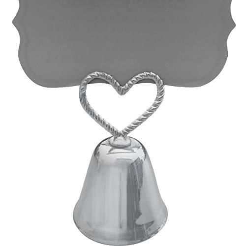 Umora 森の鐘 ハート型ベル 名刺ホルダー カードホルダー かわいい シートクリップ 結婚式12個(シルバー)
