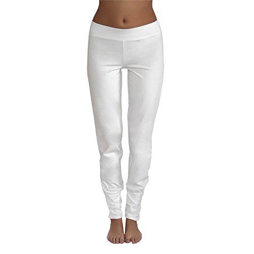 Leela Cotton Damen Freizeit, Yoga Hose Bio-Baumwolle (M, Naturweiß)