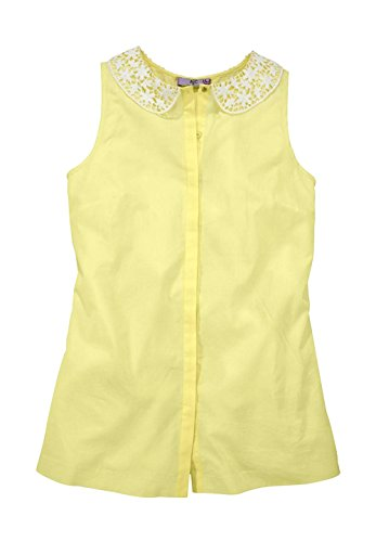 AJC Damen-Bluse Bluse mit Spitzenkragen Gelb Größe 42
