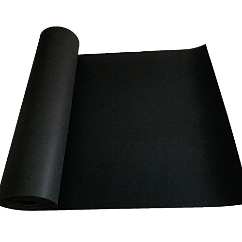 jxgzyy 3.3ft x 33ft Car Replacement Underfelt Carpet, Multipurpose Black Felt Liner Carpet Trim Roll, 0.12 inch Thick Equipment Protective Floor mat for Car Marine Trunk Floor