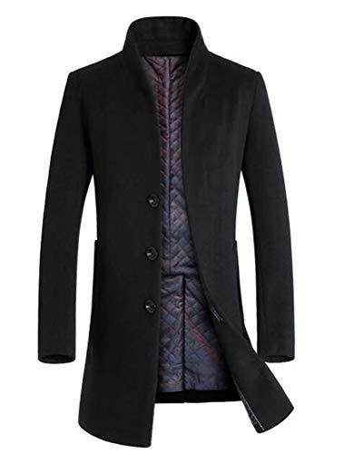 Mordenmiss Men's French Woolen Coat Business Down Jacket Trench Topcoat Fleece Black L