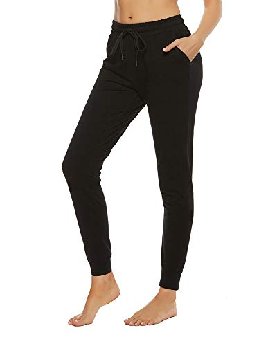 STELLE Women's Sweatpants Yoga Joggers Athletic Workout Track Pants with Pockets (Black,M)