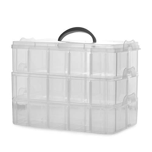 Cajas de almacenamiento de 3 niveles | Organizadores desmontables de caja transparente...