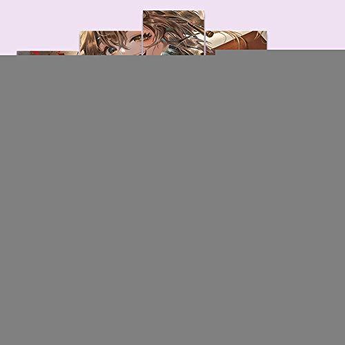 Cuadro de lienzo 5 piezas Anime Smiling Gun Girl HD imprime póster modular 100x50cm sin marco