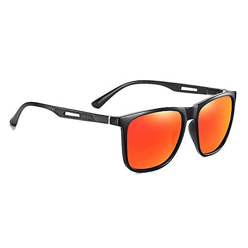 Gafas de sol para hombre, polarizadas para hombre, montura de metal ultra ligera para conducir, ciclismo, golf, pesca, correr, vela, esquí, película negra brillante y roja C01-P13
