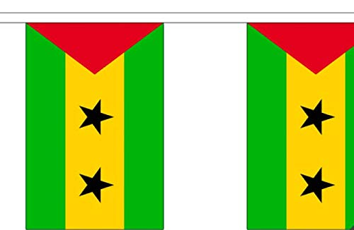 FlagSuperstore© Wimpelkette Sao Tome and Principe – 9 m – Polyester – 30 Flaggen pro 9 m Länge