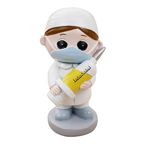 PRETYZOOM - Figura de resina médica, diseño de pastel, adorno de oficina, médico, decoración de fiesta, graduación, regalo para estudiantes en medicina